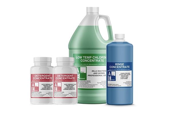 Starter Pack w/buckets (1-detergent, 1-chlorine, 1-rinse), Commercial-Grade
